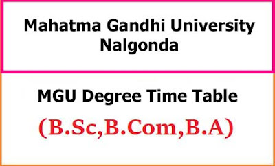 MGU Degree Time Table