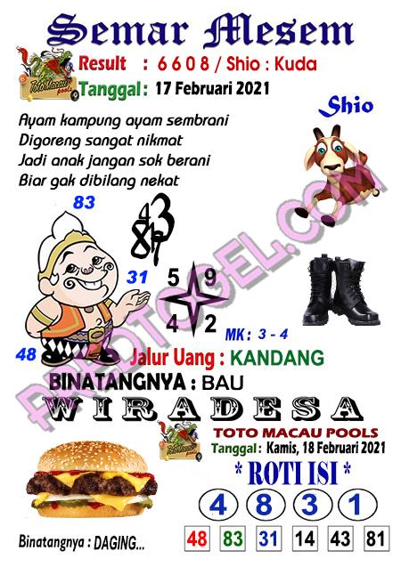 Syair Toto Macau Semar Mesem Kamis 18 Februari 2021