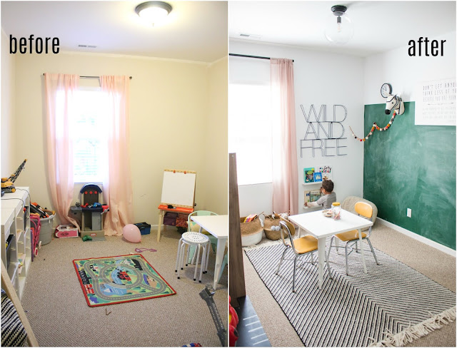 before and after of a playroom makeover