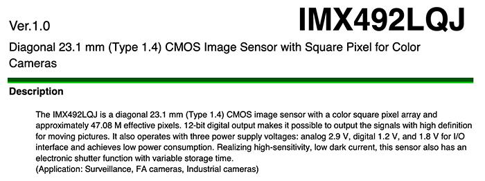 Скриншот документа с характеристиками сенсора Sony IMX492LQJ