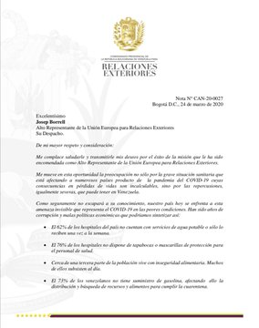 """Borges envió comunicado a la UE para """"explicar la grave realidad de Venezuela frente al COVID-19"""""""