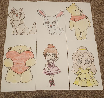 Hand Drawn Postcards, a husky dog, a bunny, Winnie The Pooh, a Forever Friends Bear, a Ballerina, and Belle