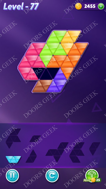 Block! Triangle Puzzle Advanced Level 77 Solution, Cheats, Walkthrough for Android, iPhone, iPad and iPod