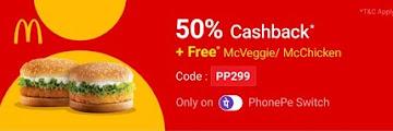 PhonePe Offer- Get 50% Cashback Upto Rs.75 On McDonalds