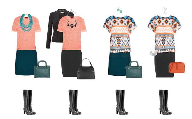 Комплекты капсульного гардероба с юбками