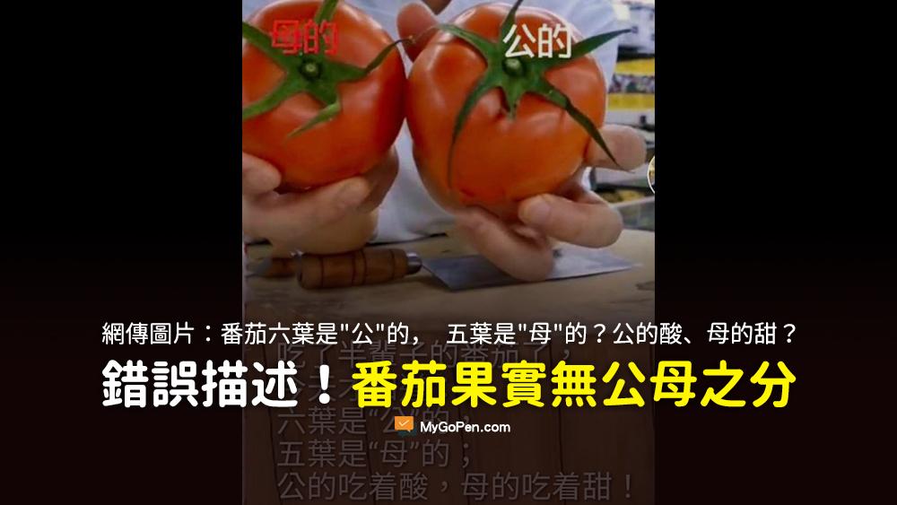 吃了半輩子的番茄 六葉是公的 五葉是母的 公的吃著酸 母的吃著甜 謠言