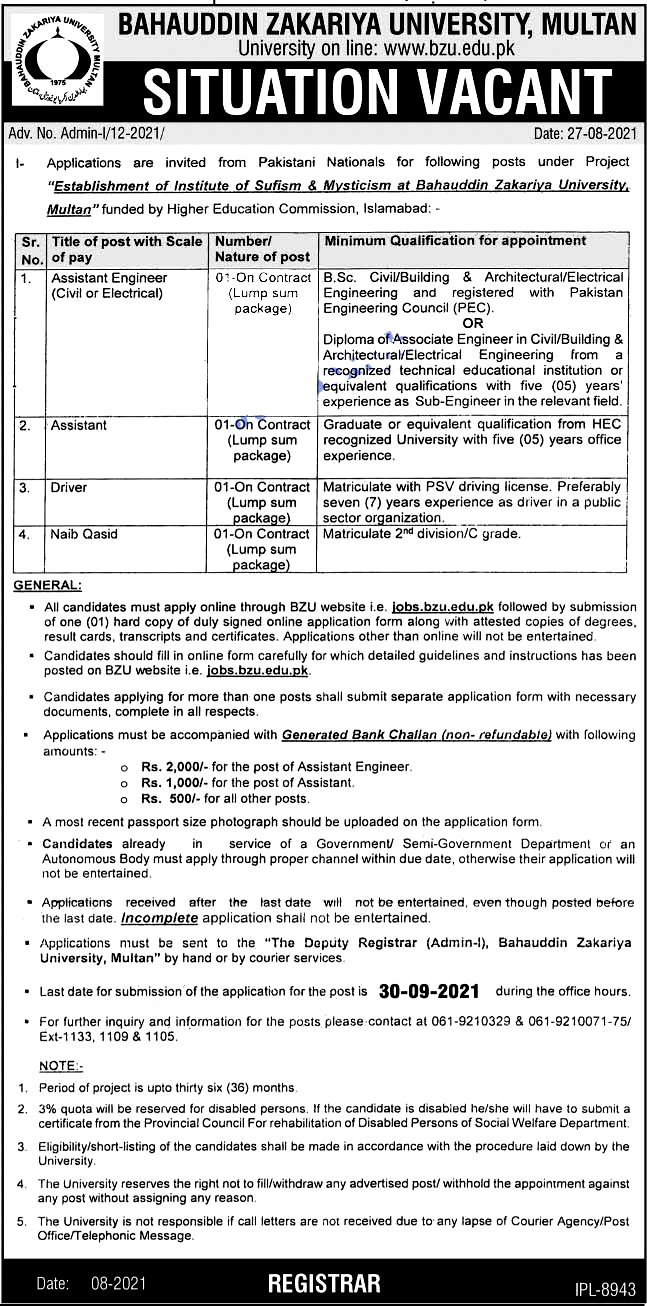 Bahauddin Zakariya University BZU Multan Latest  Jobs 2021 - Apply Online