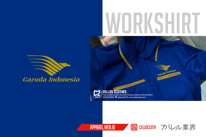 Kemeja Garuda Indonesia Custom Workshirt Bordir Komputer Satuan