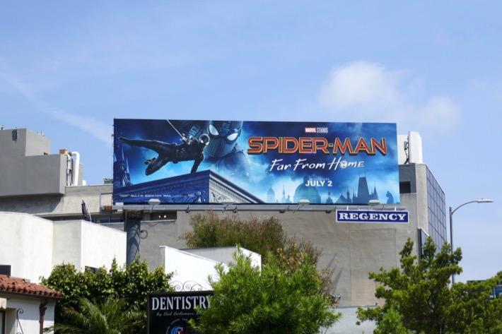 SpiderMan Far From Home film billboard