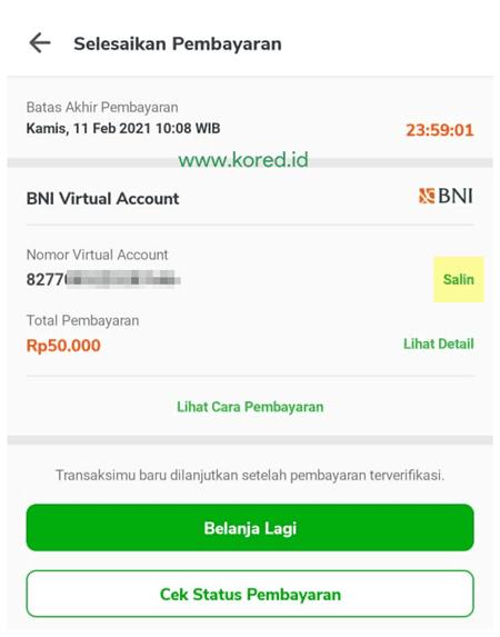 metode pembayaran BNI Virtual Account