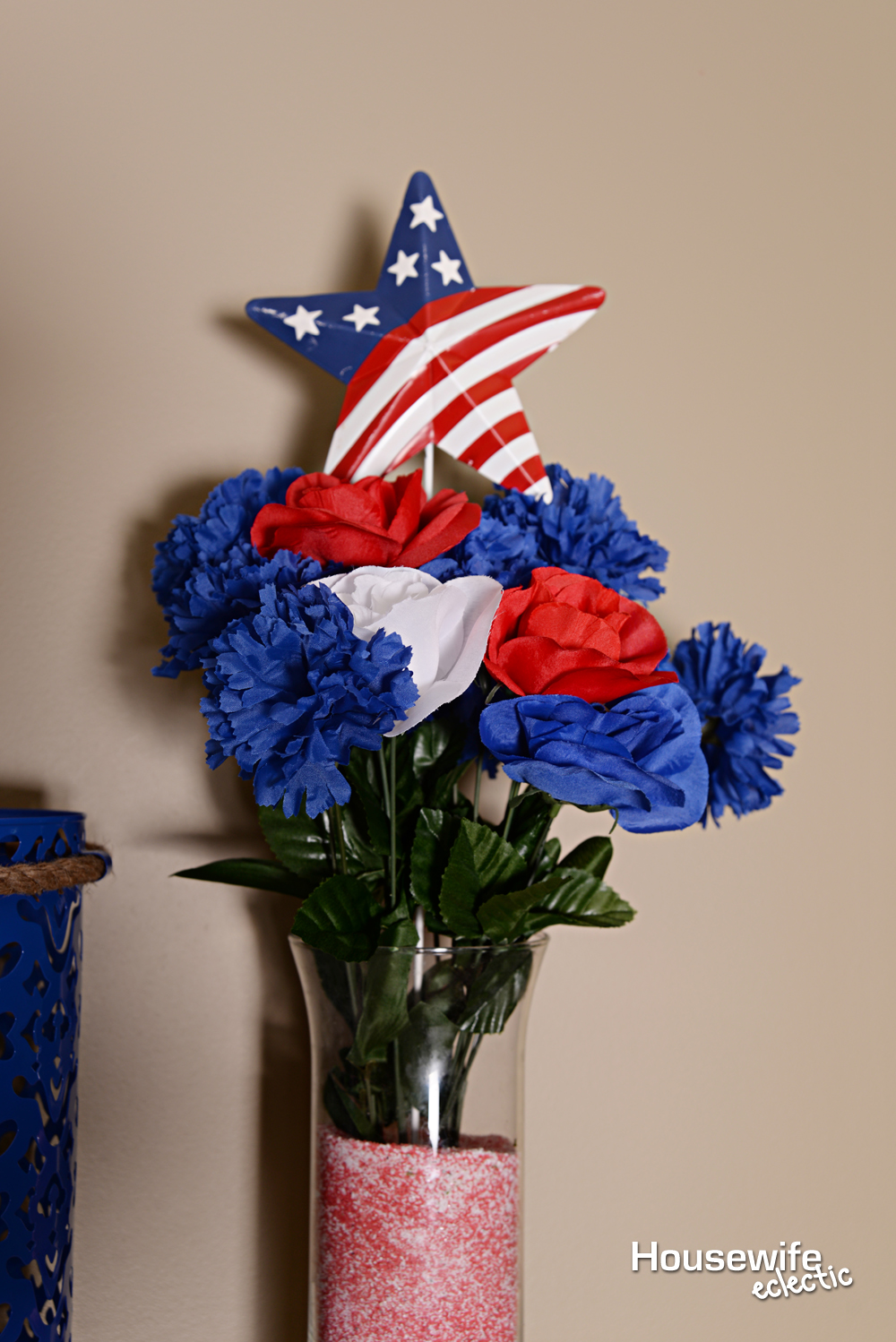 Red White And Blue Mantel Housewife Eclectic