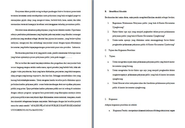 Contoh Makalah Laporan Riset dan Praktek Tentang Analisis Pelaksanaan Pelayanan Publik