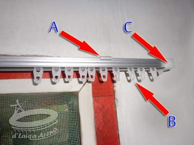 A = kaki rel (bracket), B = roda (pin), C = penutup ujung rel (end cup)