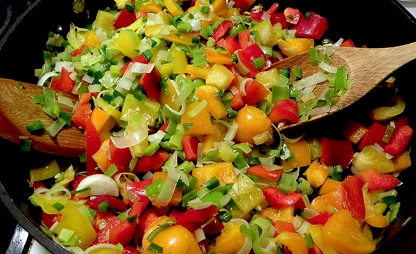 Colorful mix of bell peppers, leeks, jalapenos