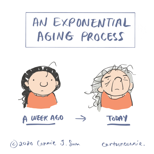 aging, humor, exponential, comics, drawing, sketchbook, connie sun, cartoonconnie