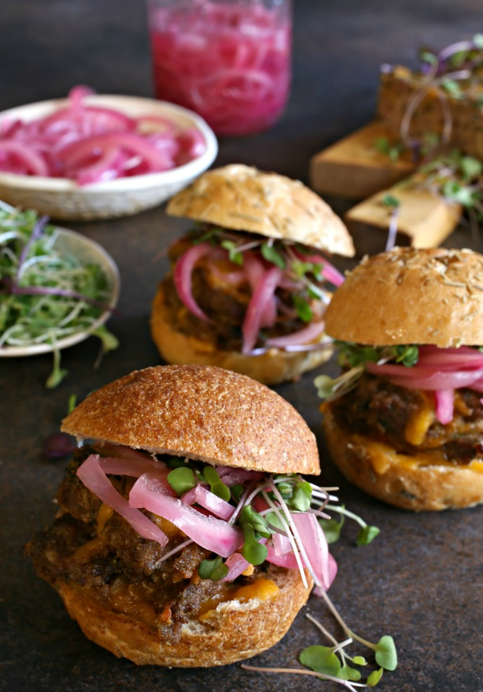 Cheesy Meatloaf Sliders with Pickled Red Onion