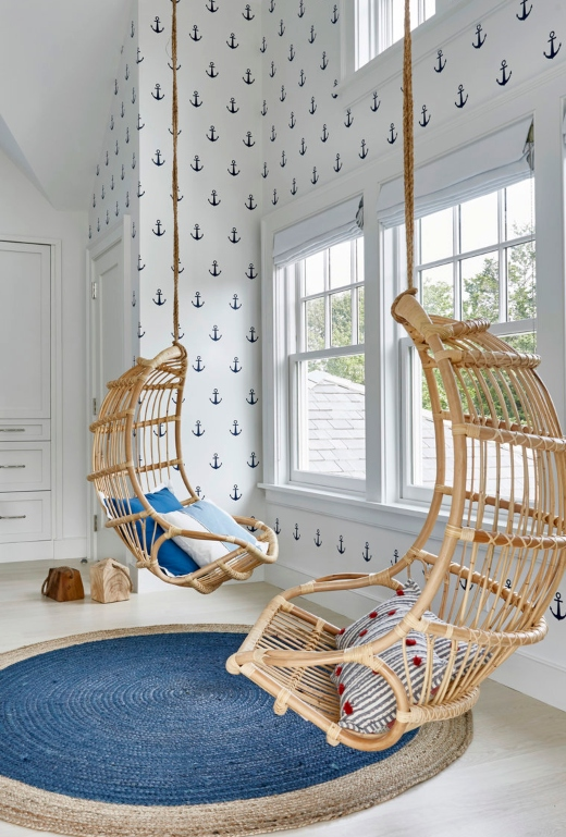 Nautical Kids Bedroom with Blue Anchor Wall Paper