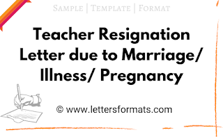 teacher resignation letter due to marriage