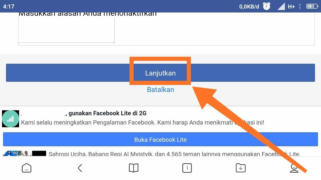 Cara menonaktifkan FB Terbaru