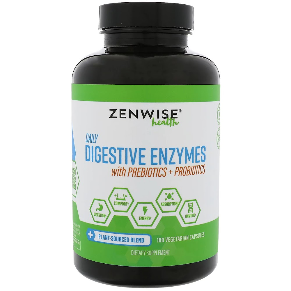 Zenwise Health, Ежедневные пищеварительные ферменты с пребиотиками + пробиотиками, 180 вегетарианских капсул
