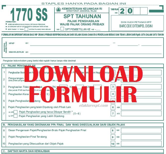 Download Formulir Spt 1770 Ss Terbaru Efaktur Dan Espt