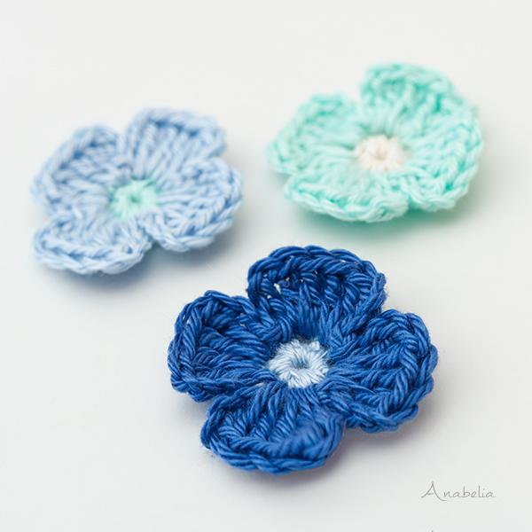 Crochet Blue Flowers Medley by Anabelia Craft Design