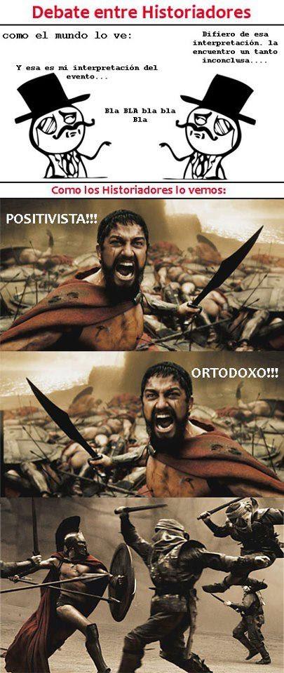 Meme de humor sobre debates entre historiadores