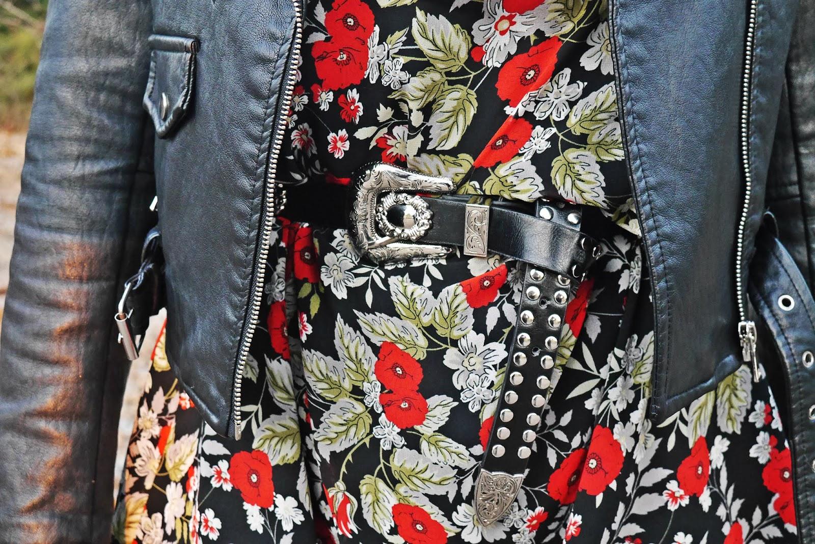 sukienka w kwiaty lakierowane botki bonprix czarna ramoneska karyn blog modowy blogerka modowa ciekawy blog o modzie