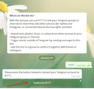 Authorize IFTTT to link IFTTT to your Telegram group or channel