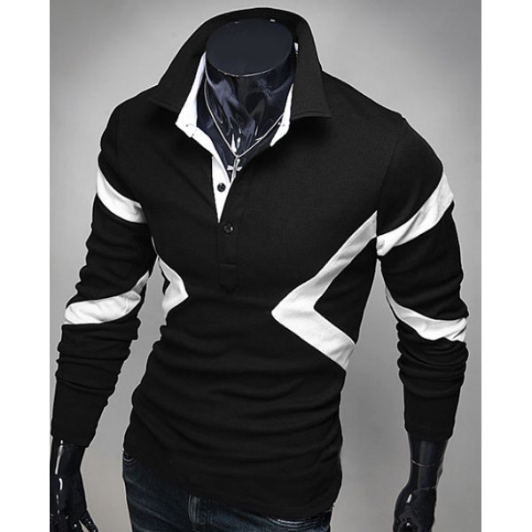 Turn-down Collar Long Sleeves Polo T-Shirt