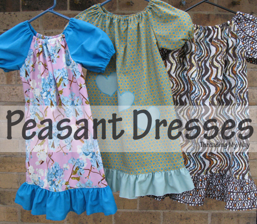 Slim fit Peasant Dresses - with link to free pattern - Threading My Way