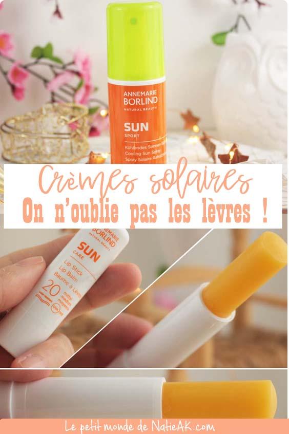 avis sur le baumes à lèvre solaire et la protection solaire
