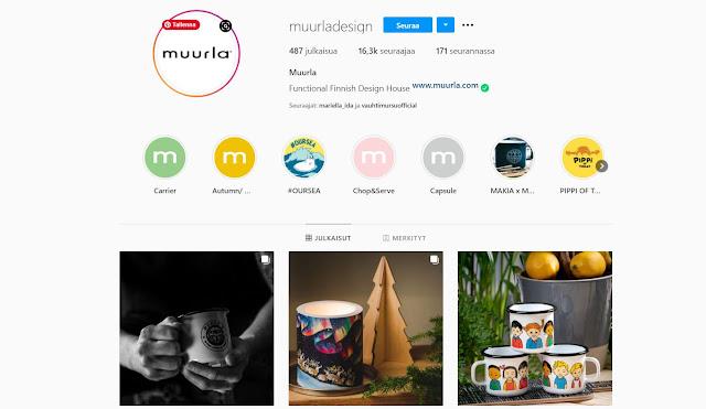 Kuvankaappaus, joka on otettu Muurla Design Marketing:in Instagramin etusivulta