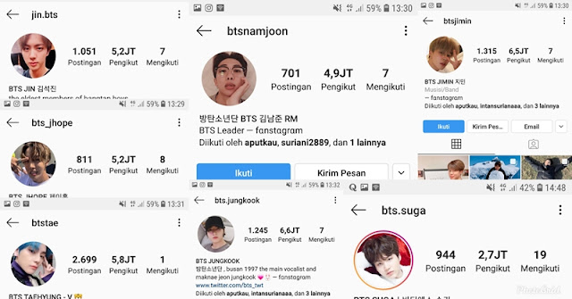 Akun Instagram Member BTS Yang Asli Real