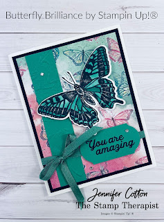 This card uses Stampin' Up!'s Butterfly Brilliance Bundle.  The Butterfly Bijou designer paper is while supplies last!  The Butterfly Brilliance Bundle is available now!  Click the picture to go to blog post and see link to video with instructions!  Measurements on the blog.  #StampinUp #StampTherapist #ButterflyBrilliance