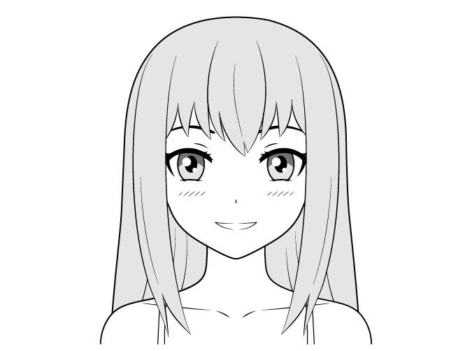 Anime gadis biasa menggambar wajah bahagia
