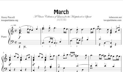 Purcell March Suite NºVIII Partitura de Piano con dedos (Digitación)
