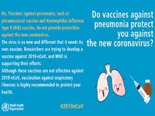 Pneumonia vaccine protects from Corona virus