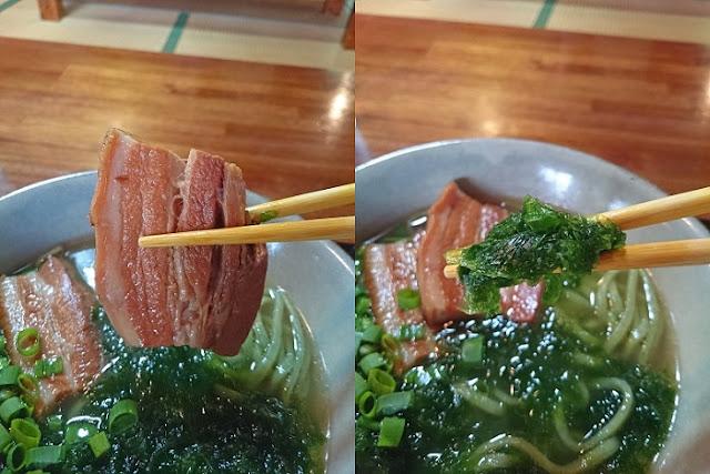 三枚肉とアーサの写真