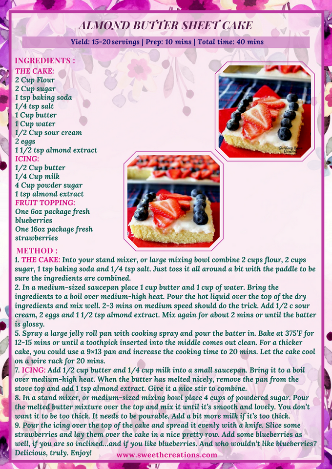 ALMOND BUTTER SHEET CAKE RECIPE
