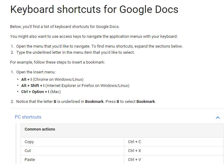 Educational Technology Guy Keyboard Shortcuts For Google Docs