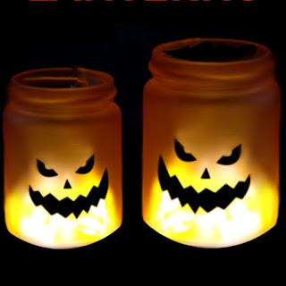 Make Halloween lights using glow sticks!  These glowing jack-o-lanterns are just too cute and easy enough for all ages. #halloweenlights #halloweenlanterns #halloweenlanterndecor #halloweenpumpkins #glowingjars #glowingjackolanterns #glowingjarshalloween #glowstickjars #pumpkinjars #glowjars #halloweencraftsforkids #growingajeweledrose #activitiesforkids