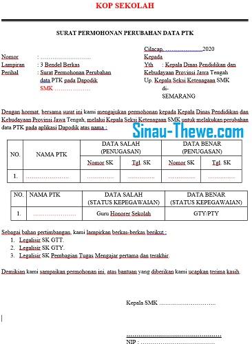 Surat Permohonan Perubahan Jenis Dan Status Kepegawaian Ptk Di Dapodik 2021 Sinau Thewe Com