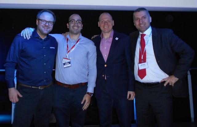 Sophos e Maleva: da sinistra Mark Loman, Luciano Ferrara, John Shier, Michele Pozza