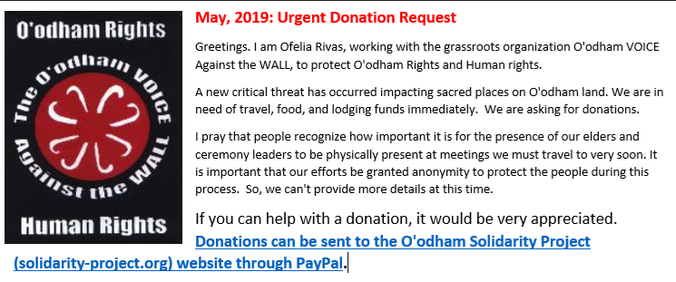 CENSORED NEWS: Urgent Donation Request: O'odham Voice Against the