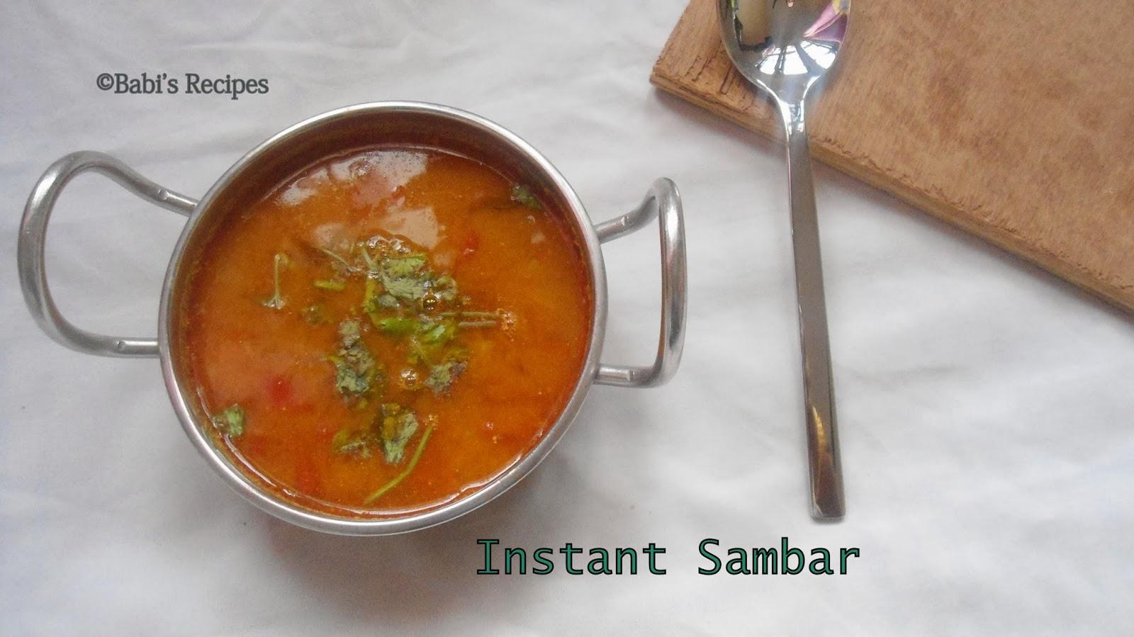 no dal sambar/ instant sambar