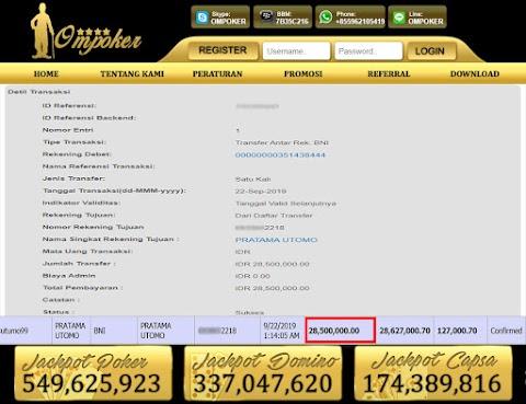 Selamat Kepada Member Setia Ompoker WD Rp 28.500.000