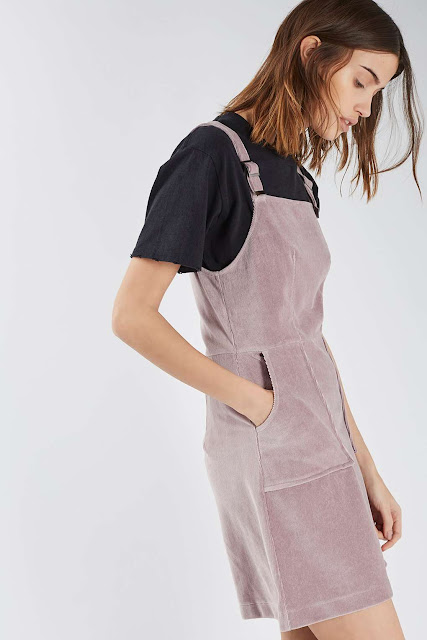 pink cord pinafore, velvet pinafore,