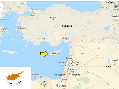 Países pequenos promovidos pelo futebol -localização do Chipre no mapa.