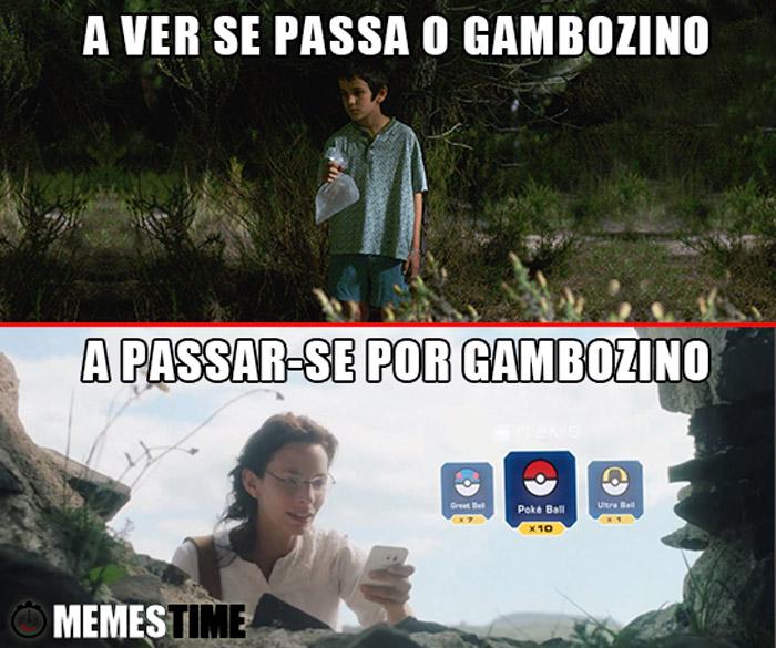 Meme Rapaz Apanha Gambozinos e jovem apanha Pokémons – A ver-se passar o Gambozino & A Passar-se por Gambozino